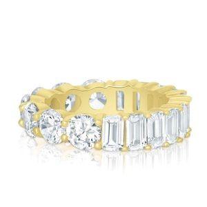 Half emerald half round cut eternity ring S925